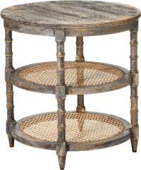 Mango Wood Table w: Cane Shelves